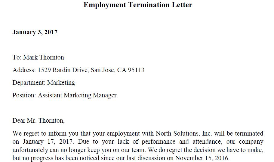 5 Free Termination Letter Word & PDF Templates   Templates Assistant