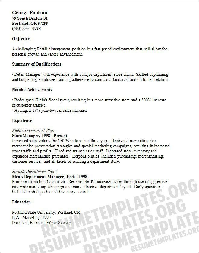 store manager resume objective retail property resume s retail ...