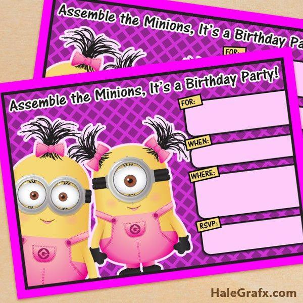 FREE Printable Despicable Me Girl Minion Birthday Invitation ...