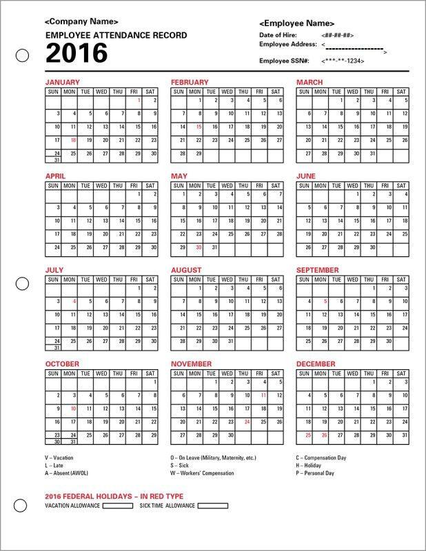 Employee Attendance Calendar Tracker Templates 2016 Printable 89uj ...