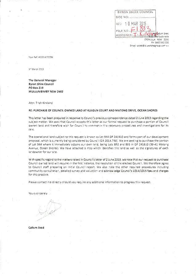 Letter from Callum Sked - Formal request to purchase a portion of ...