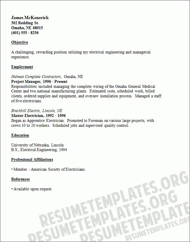 Electrician Resume Templates | ilivearticles.info