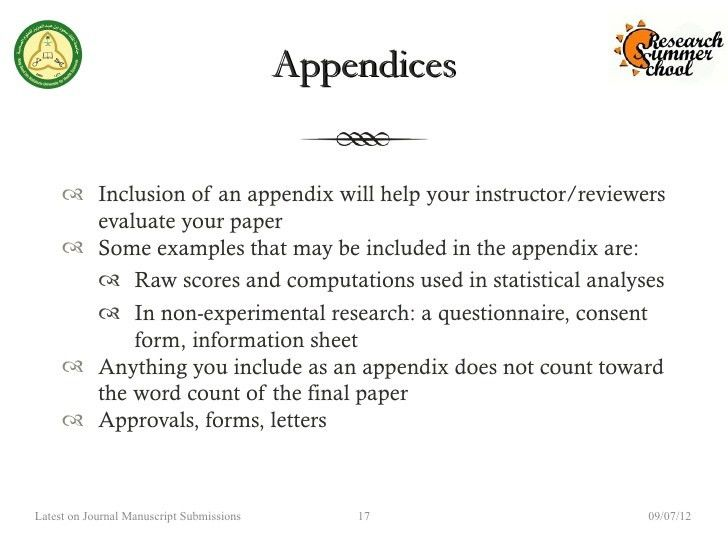 Appendix for research paper apa