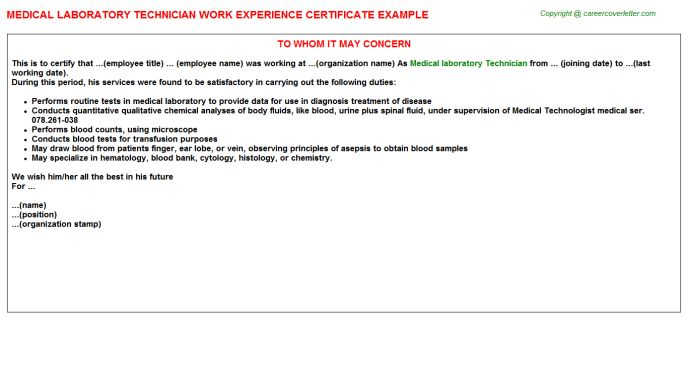 Medical Laboratory Technician Work Experience Certificate