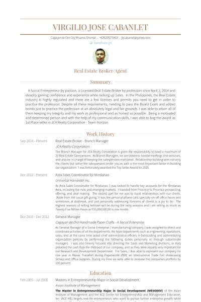 Real Estate Broker Resume samples - VisualCV resume samples database