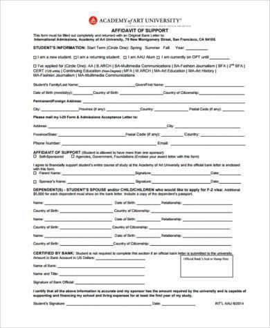 7+ Affidavit of Support Sample Forms - Free Sample, Example Format ...
