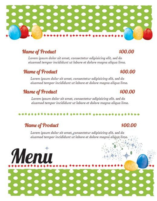 FREE Easter Restaurant Menu Templates for Photoshop and ...