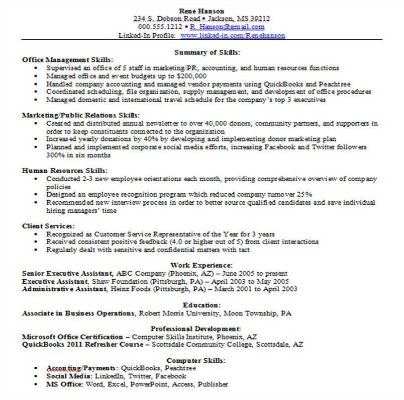 technical skills. resume samples higher education administration ...