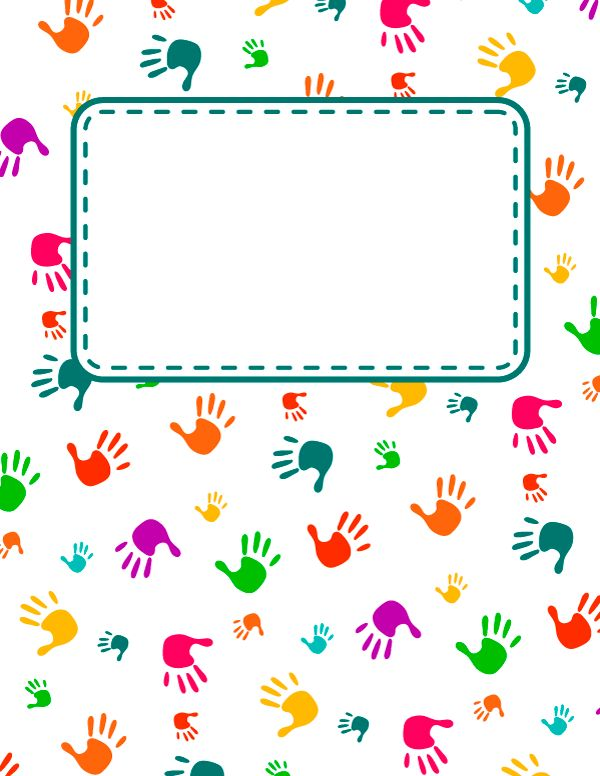 Free printable handprint binder cover template. Download the cover ...