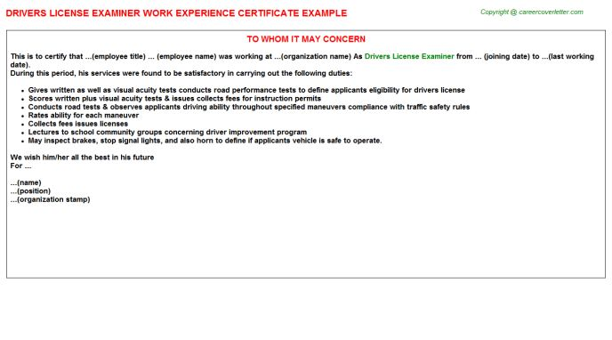Forklift Drivers Work Experience Letters
