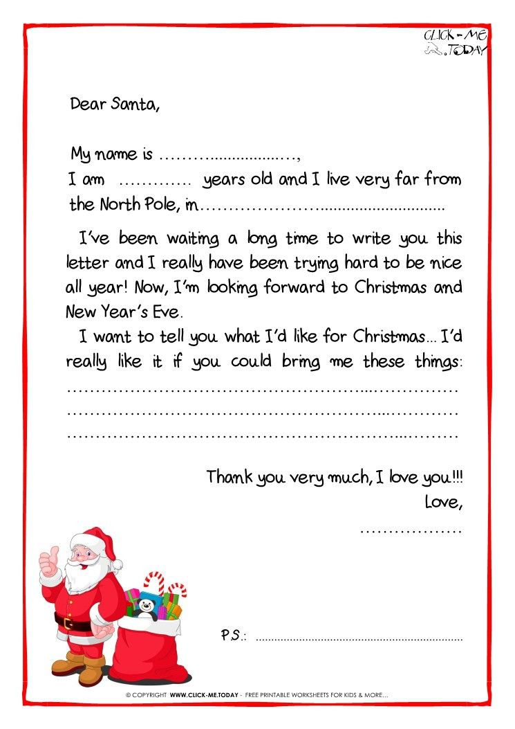 Letter to Santa Claus Black & White free template - PS -Santa ...