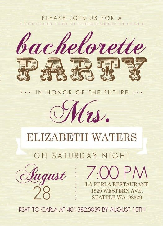 Bachelorette Invitation Template. Bachelorette Party Invitations ...