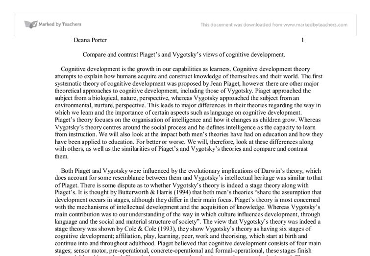 Compare and contrast Piaget's and Vygotsky's views of cognitive ...