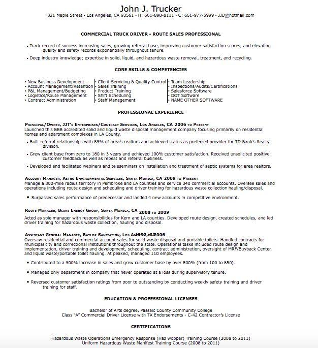 templates for drivers profesional otr trucker resume sample resume ...
