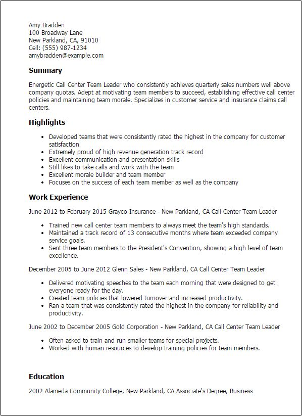 Download Team Leader Resume | haadyaooverbayresort.com