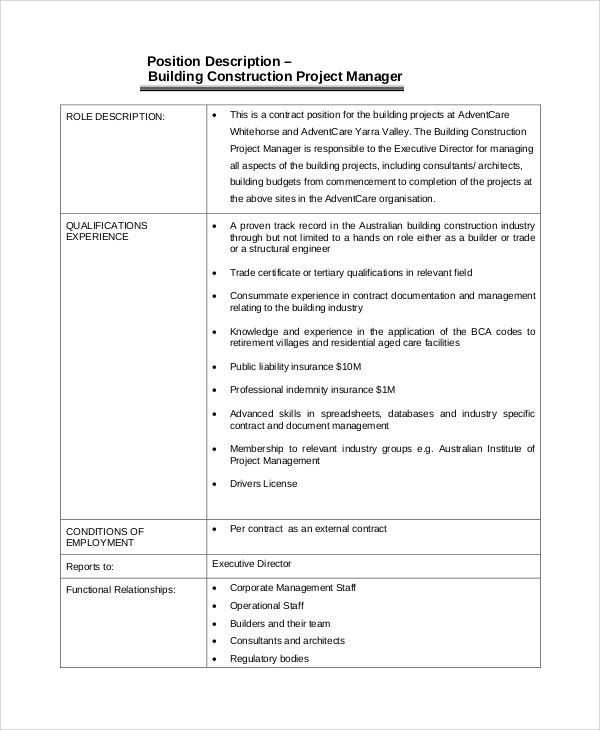 Construction Management Job Description. Free Pdf Download; 3 Key ...