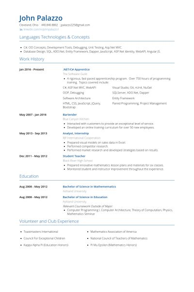 Apprentice Resume samples - VisualCV resume samples database
