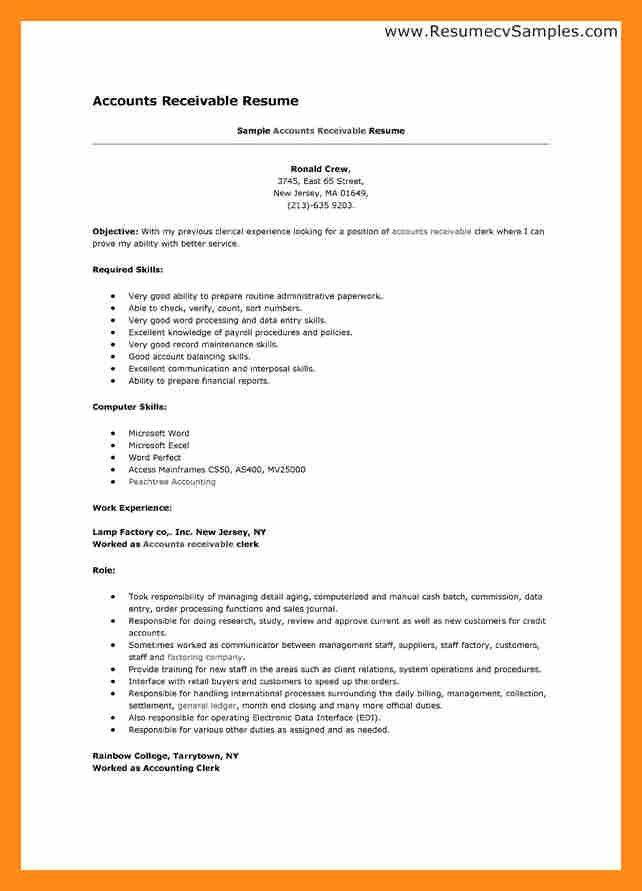 9+ accounts receivable resume | actor resumed