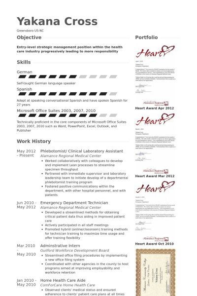 Phlebotomist Resume samples - VisualCV resume samples database