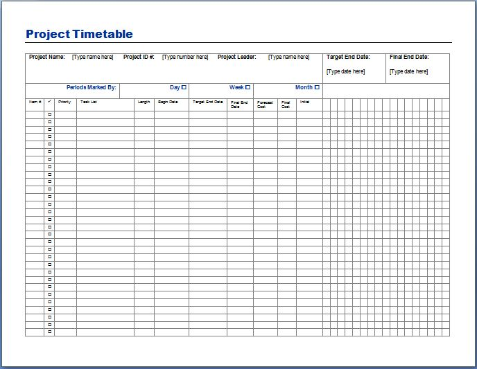 Project Timetable Template | Sample Format