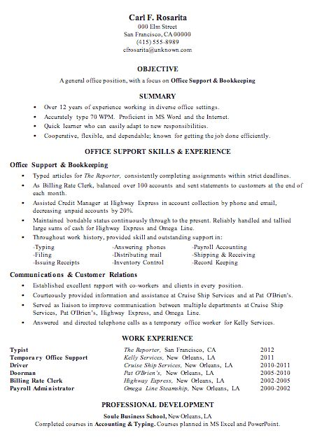 Resume Sample Office Support Bookkeeping | Resumes | Pinterest ...