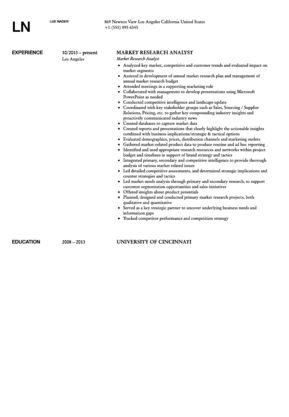 Market Research Analyst Resume Sample | Velvet Jobs