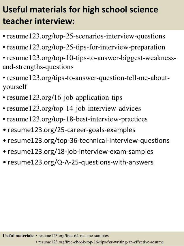 Top 8 high school science teacher resume samples