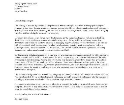 retail cover letter manager resume cover letter retail sales ...