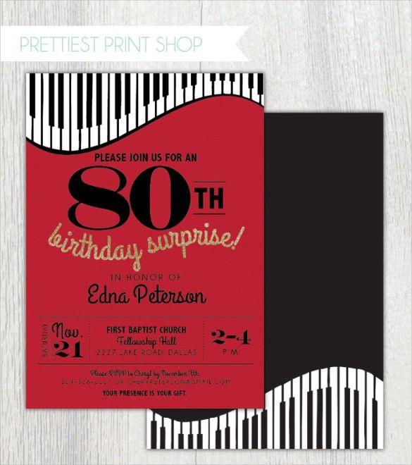 22+ 80th Birthday Invitation Templates – Free Sample, Example ...