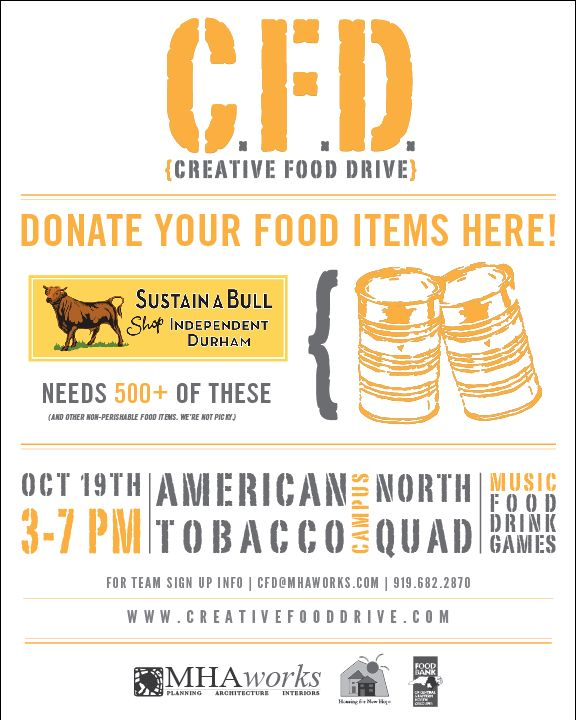 Creative Food Drive | Sustain-a-Bull: Shop Independent Durham
