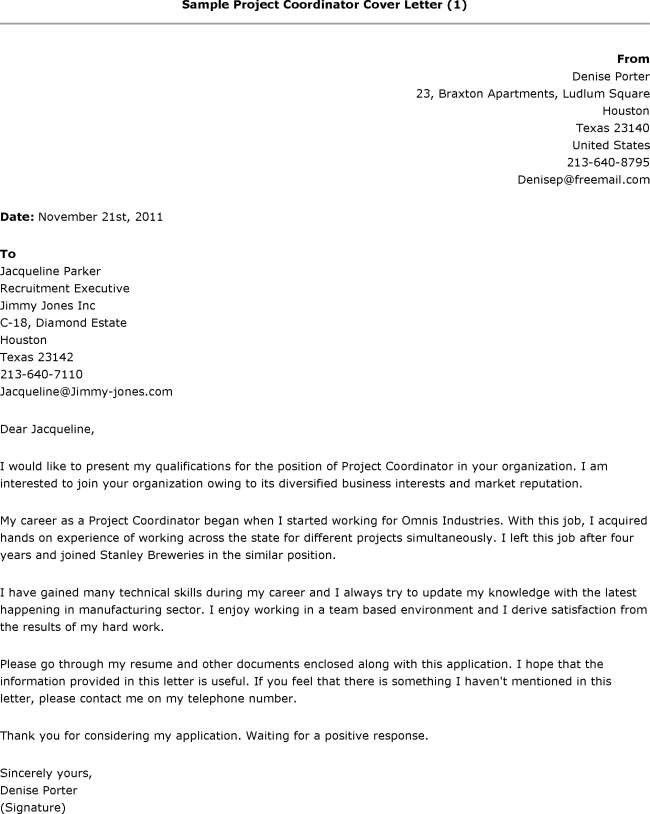 Project Coordinator Cover Letter Example - letter of recommendation