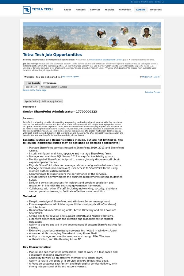 Senior SharePoint Administrator job at Tetra Tech in Pasadena, CA ...