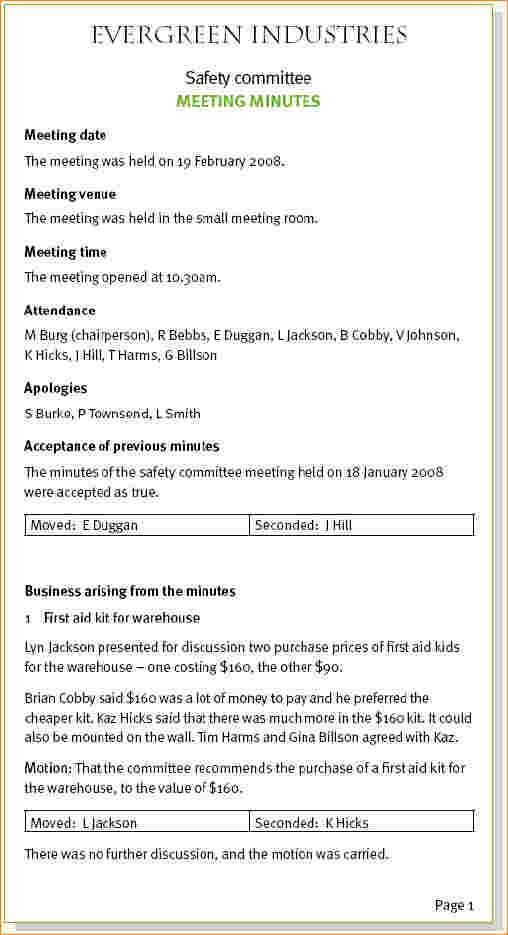 4 sample of minutes of meeting | Outline Templates
