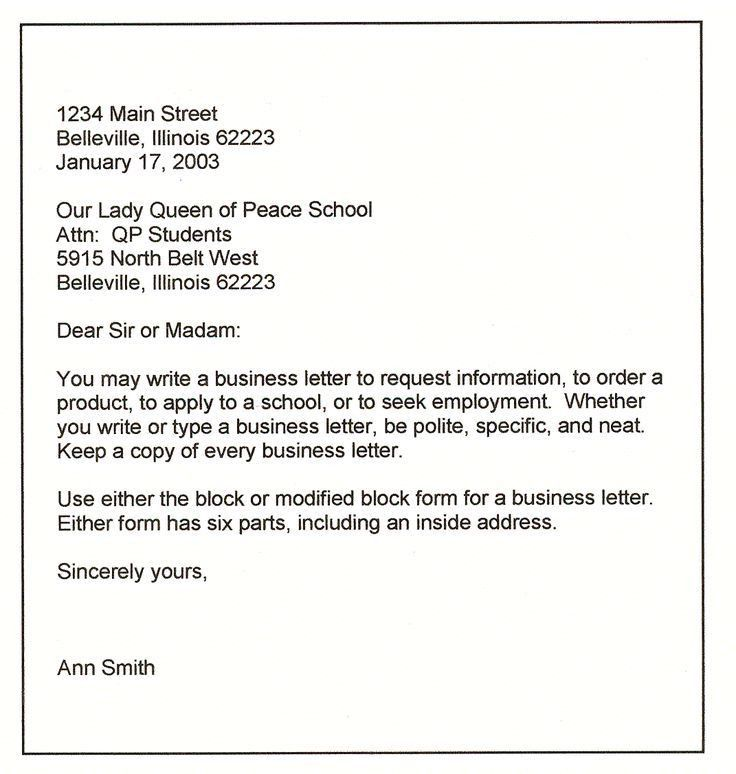 Sample Business Letter Format Template. Free Personal Business ...
