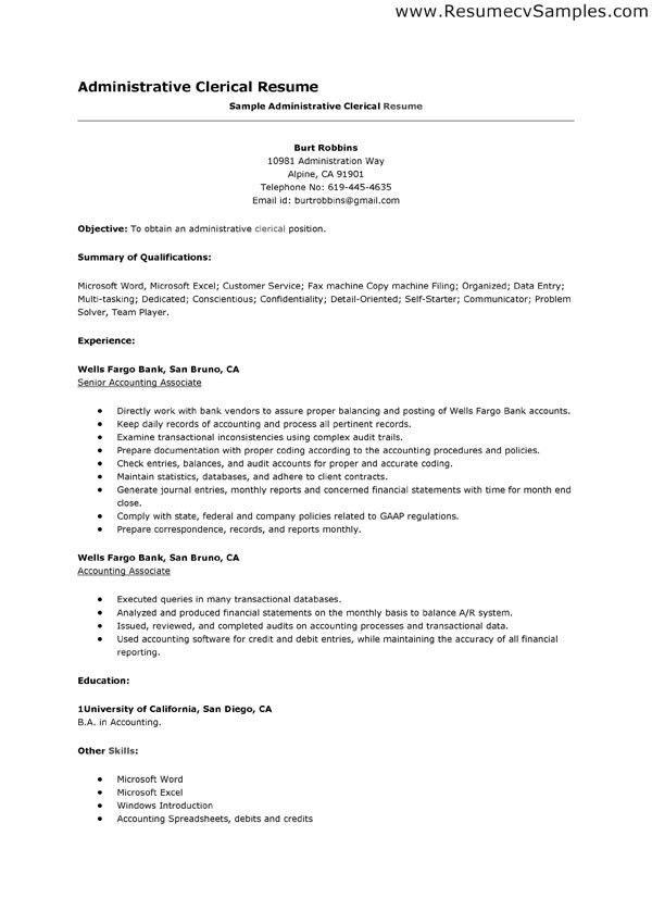 Clerical Resume Sample | jennywashere.com