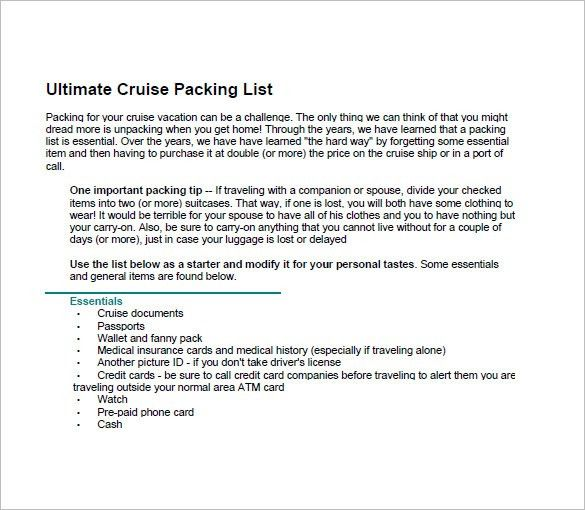 Packing List Template – 10+ Free Sample, Example, Format Download ...