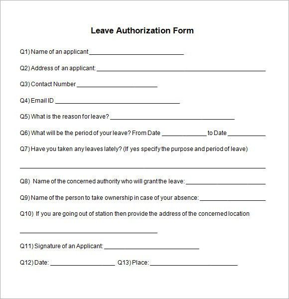 Casual Leave Application. Leave Request Authorization Form ...