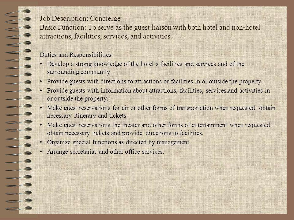Front Desk Job Description. Operations Manager Job Description For ...