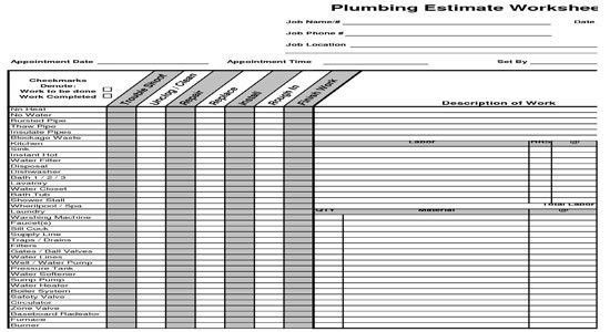 Plumbing Estimate Construction Worksheet   Estimating Plumbing ...