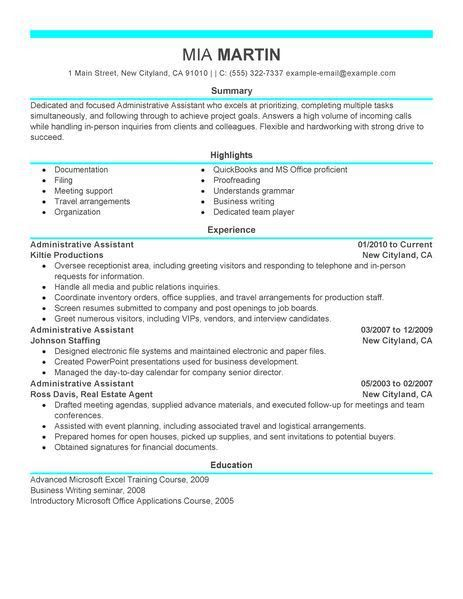Resume Examples Office Assistant] Best Administrative Assistant ...