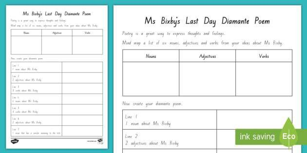 Diamante Poem about Ms Bixby Activity Sheet to Support Teaching