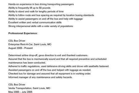 bus driver resume