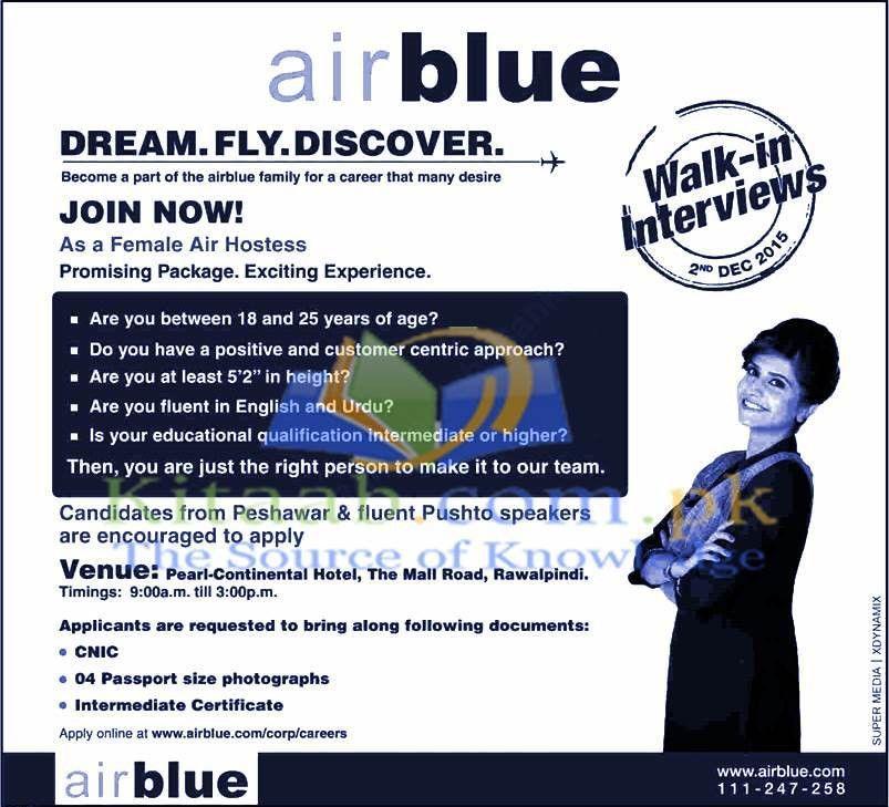 Air Blue Air Hostess Jobs 2015 Female Cabin Crew Walk in ...
