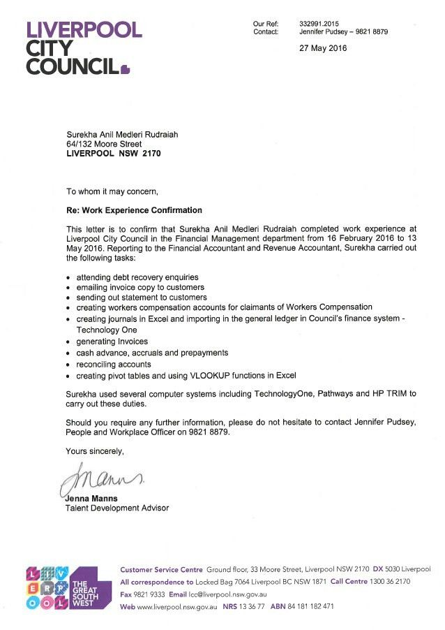 Work Experience Confirmation Letter - Surekha Anil