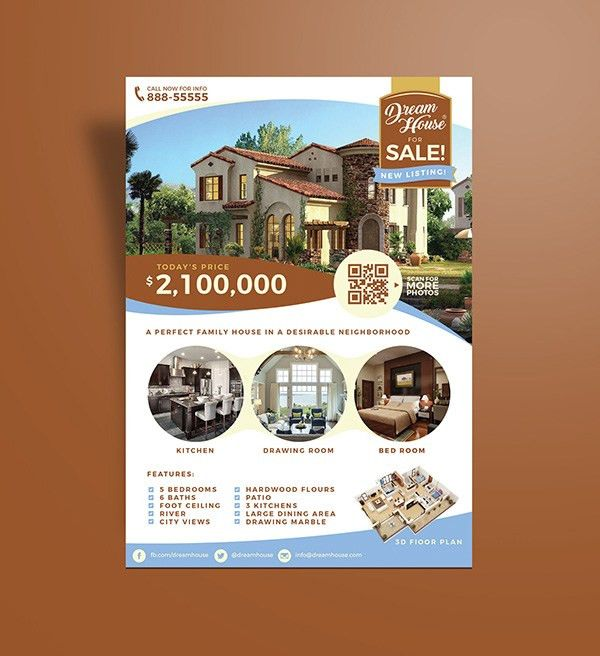 House For Sale Flyer Template. Craftsman Home Flyer Design ...