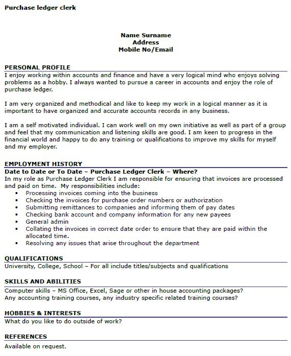 Purchase Ledger Clerk CV Example - icover.org.uk