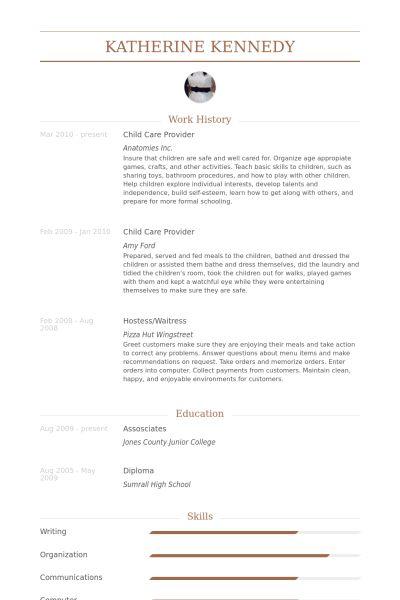 Child Care Provider Resume samples - VisualCV resume samples database