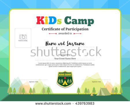Colorful Modern Certificate Participation Template Kids Stock ...