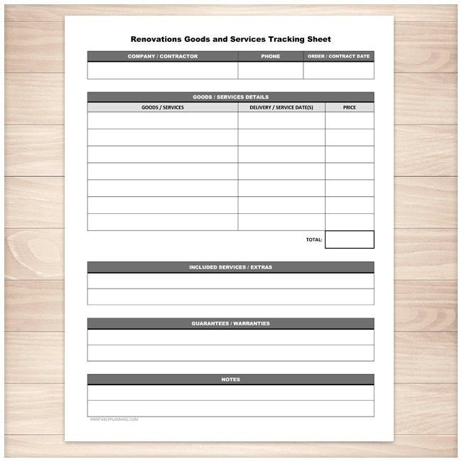 Printable Renovations Goods Services Tracking Sheet Home or