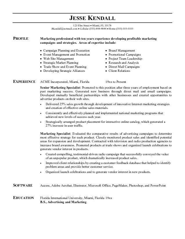 Marketing Sample Resume | jennywashere.com